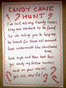 Candy cane treasure hunt