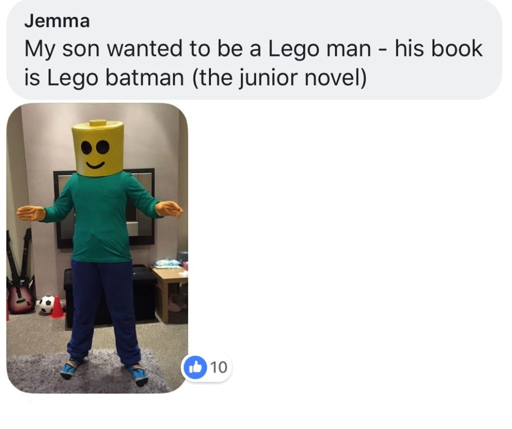 World Book Day costume ideas - LEGO man