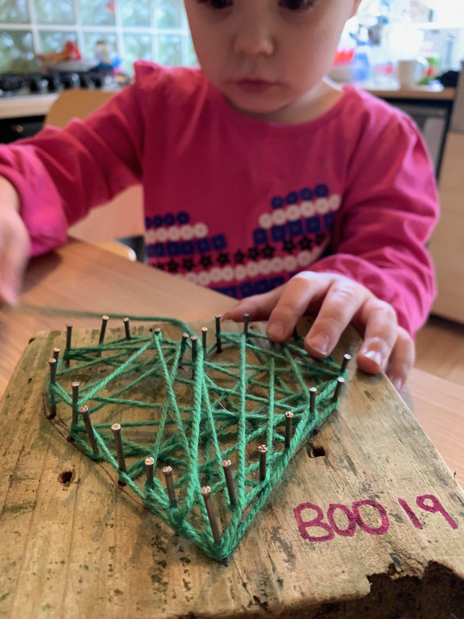 Nail And String Art Heart