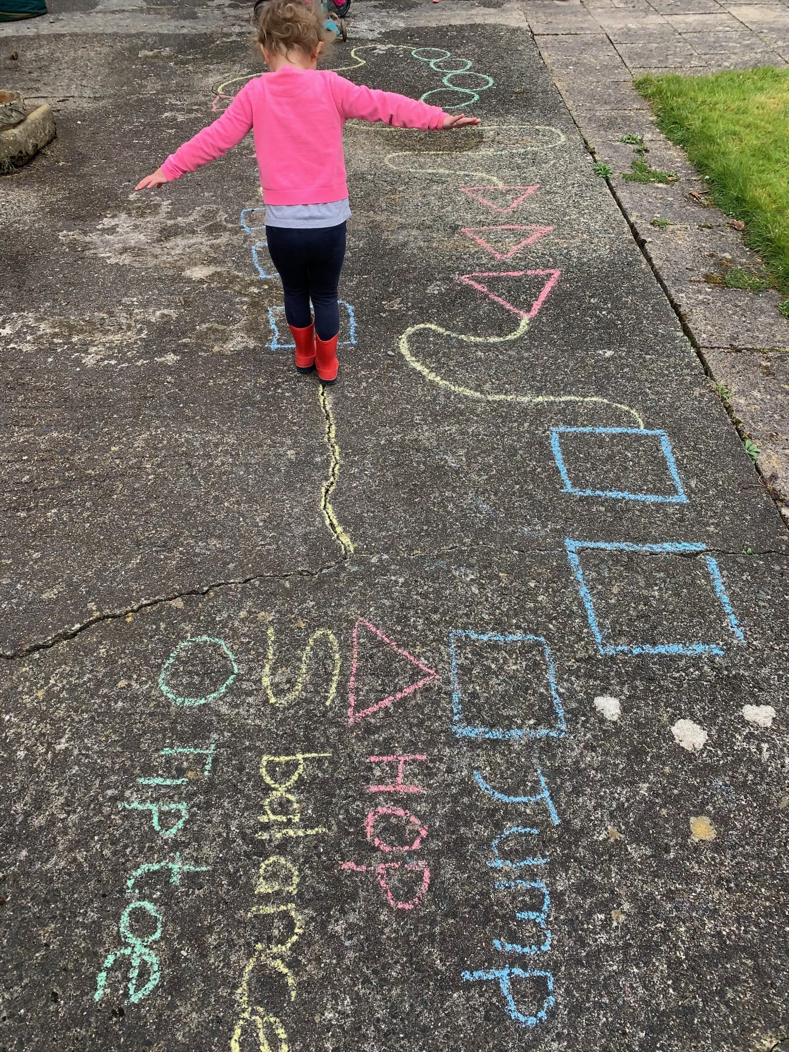Preschooler Chalk Agility Course