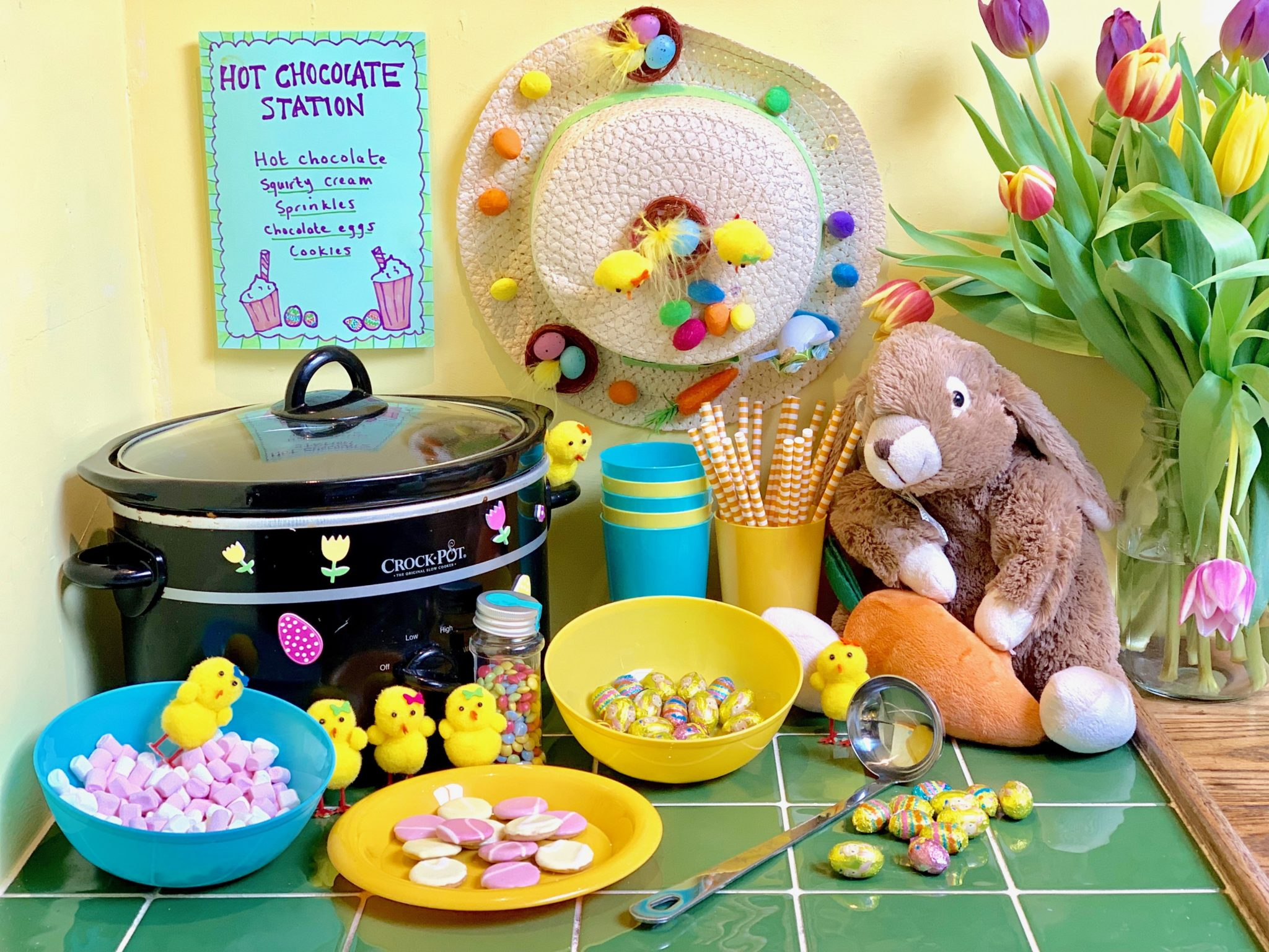 Easter Crockpot Hot Chocolate Station